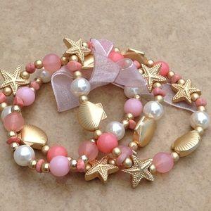 Jewelry - Gold Tone Coral Beach Nautical Stretch Bracelet